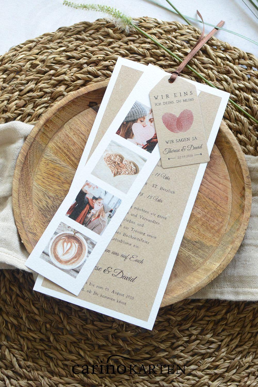 Einladung zur Hochzeit in Kraftpapieroptik mit Fingerabdruck Herz – Boda fotos