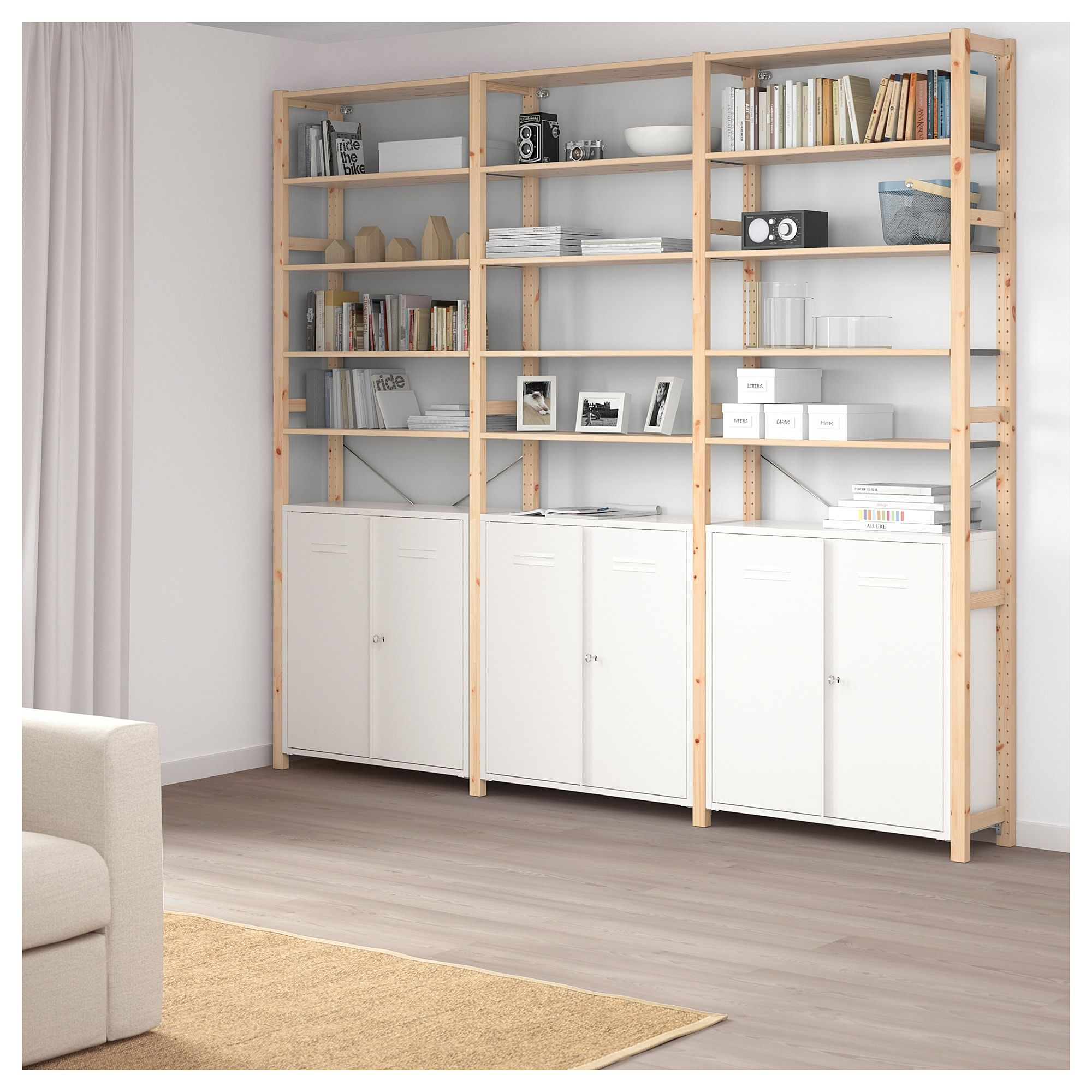 IKEA IVAR White with doors Shelves, Ikea, Wall