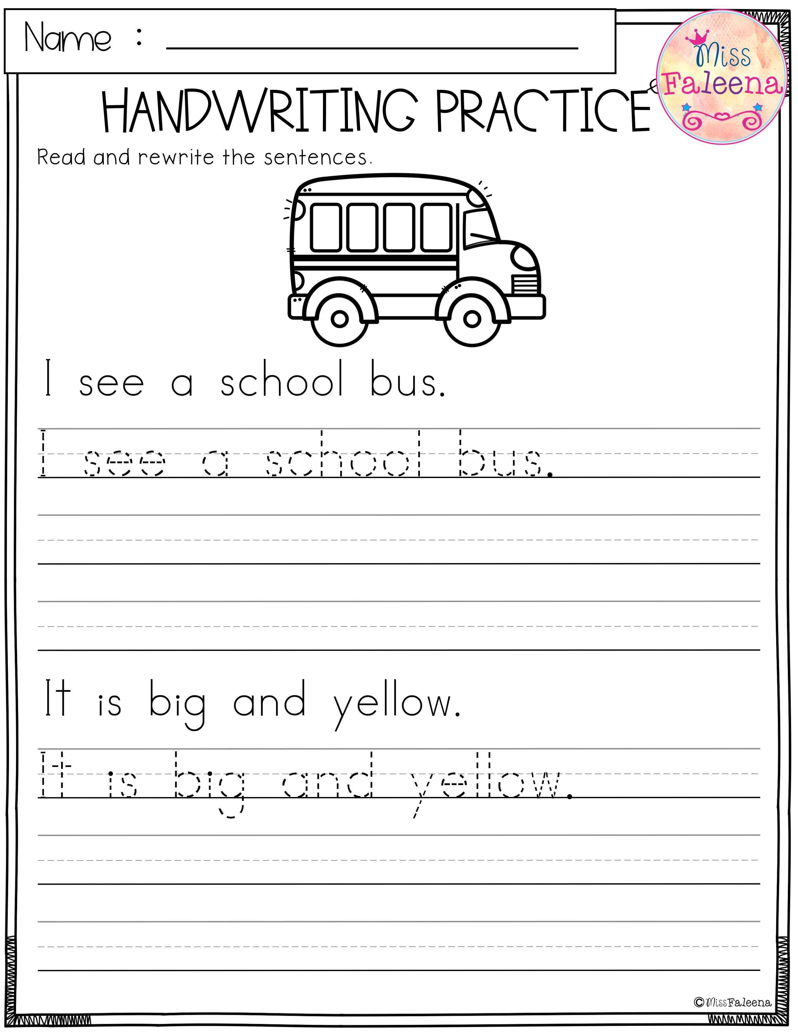Back To School Handwriting Practice Handwriting Worksheets For Kids Kids Handwriting Practice Writing Practice Worksheets Handwriting activities for kindergarten
