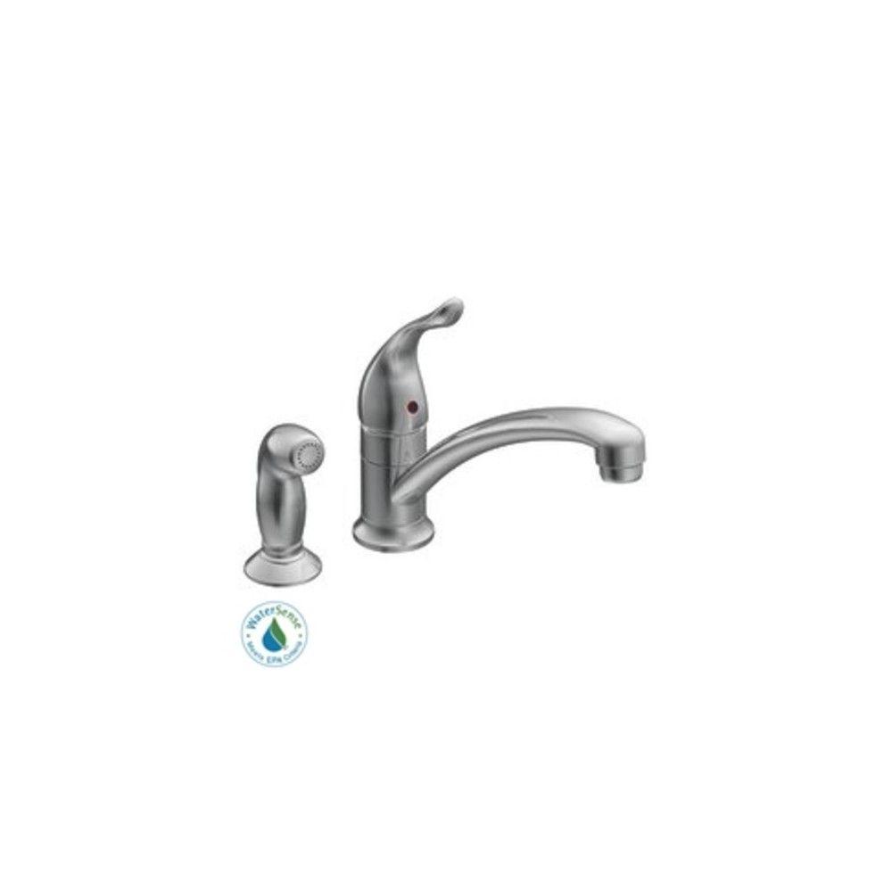 Moen 7437 Single Handle Kitchen Faucet Chrome No Finish