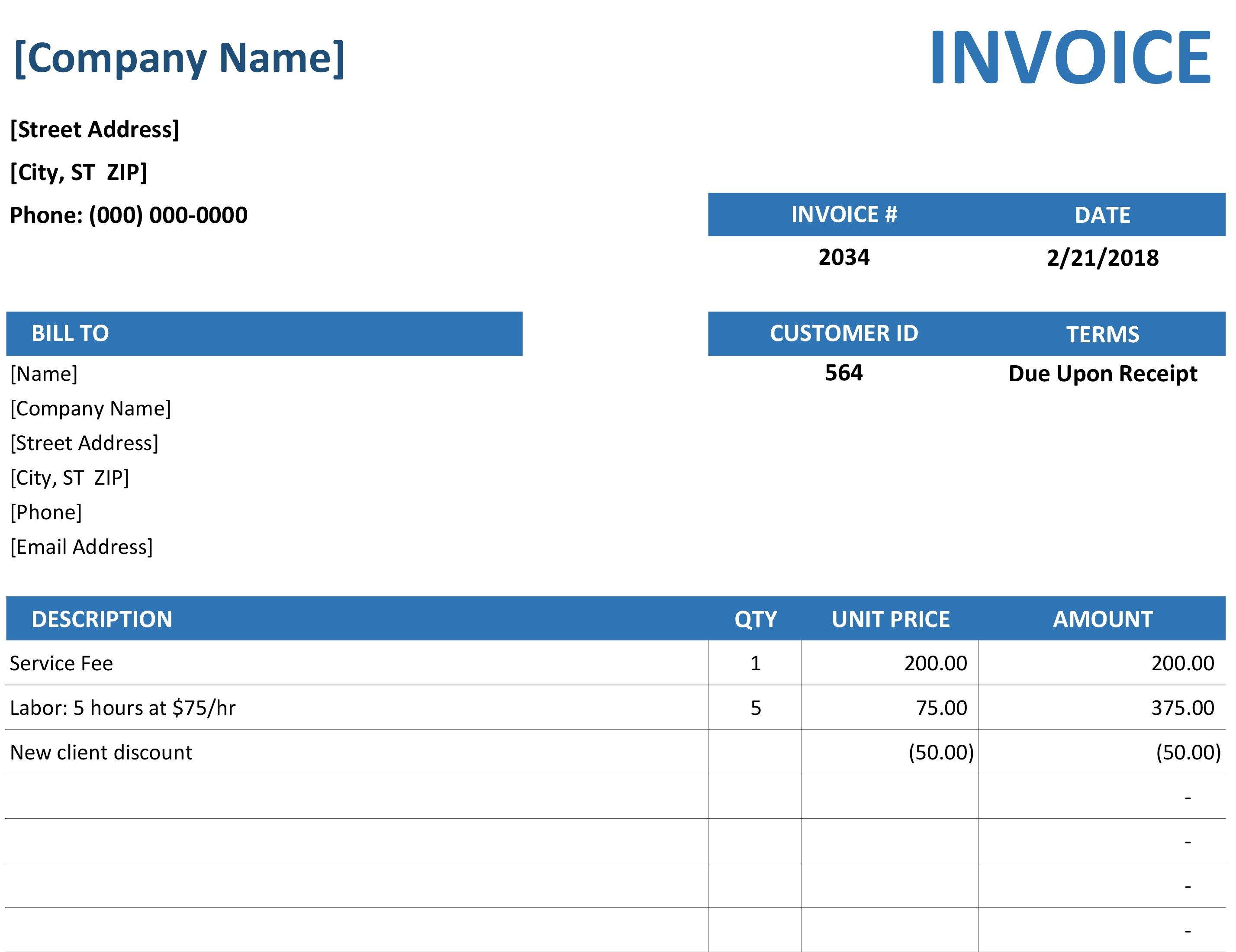 Create A Professional Invoice Or Receipt For Your Small Business Using This Template Provided By Verte Invoice Template Word Printable Invoice Invoice Template