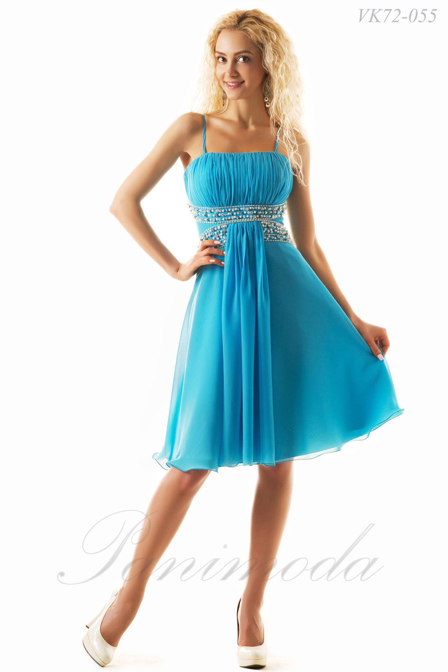 47e24a04914 Короткое платье из мульти шифона с мягкой драпировкой лифа. Украшением  модели является отделка вышивкой