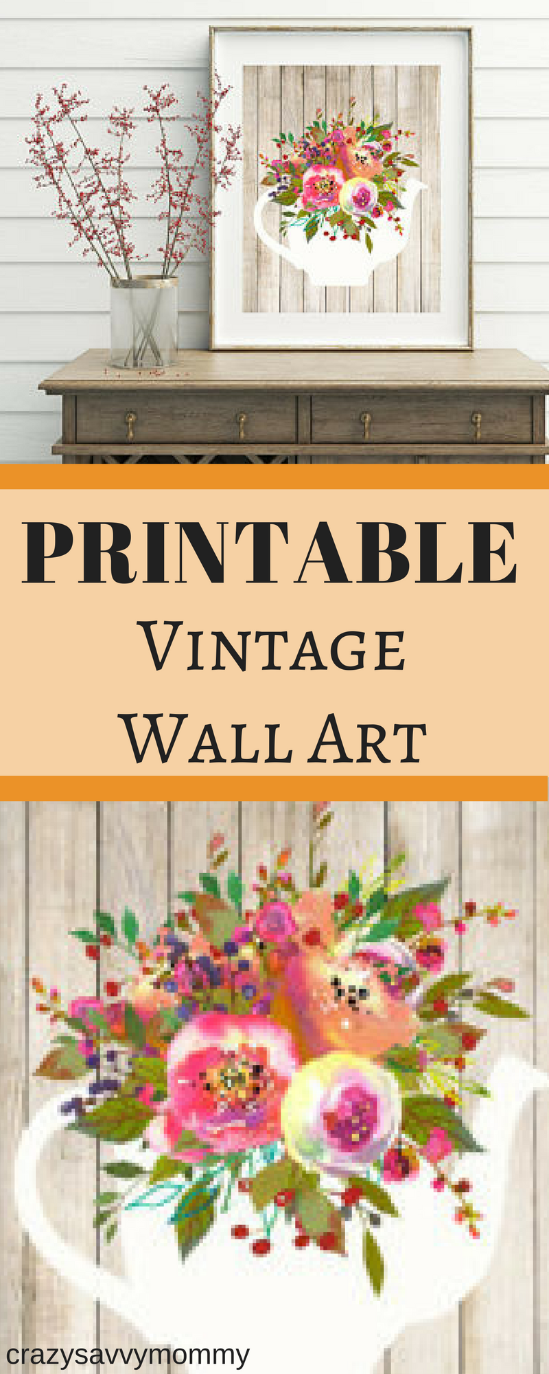 ONLY $3.99!! PRINTABLE Vintage Shabby Chic Walll Art! This wall art ...