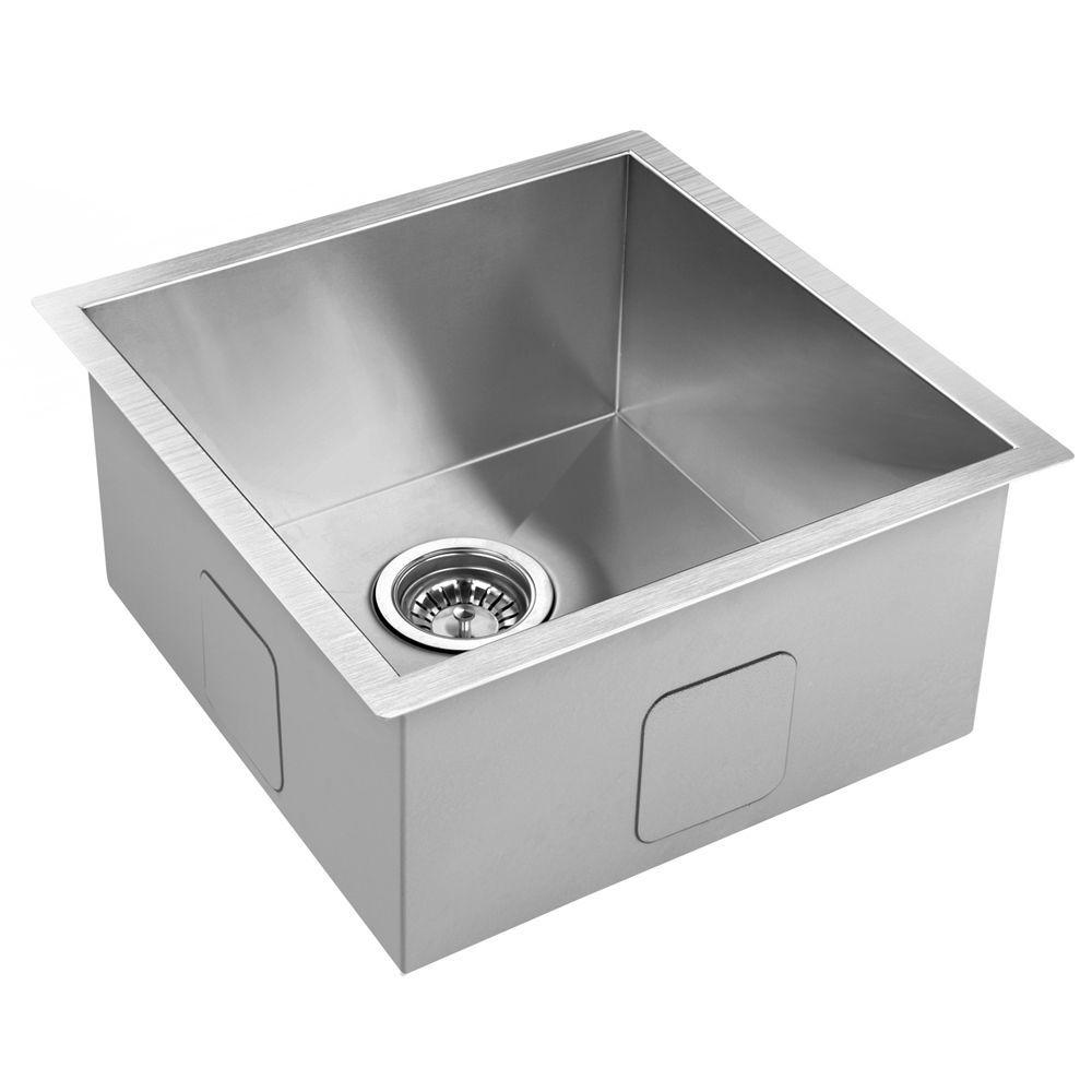 440x440mm Handmade Stainless Steel Undermount Topmount Kitchen Laundry Sink Stainless Steel Kitchen Stainless Steel Kitchen Sink