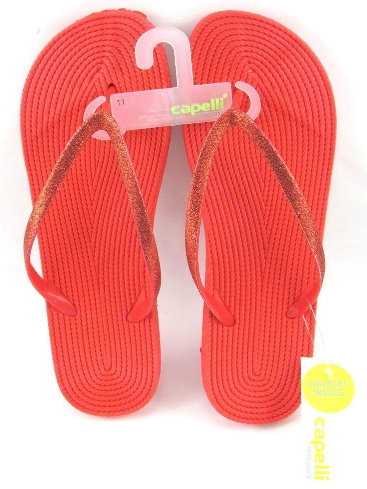 2af8fe73aa700 Capelli Womens Flip Flops Red Fine Glitter Comfort Insole Size 11 New   Capelli  FlipFlops  Casual