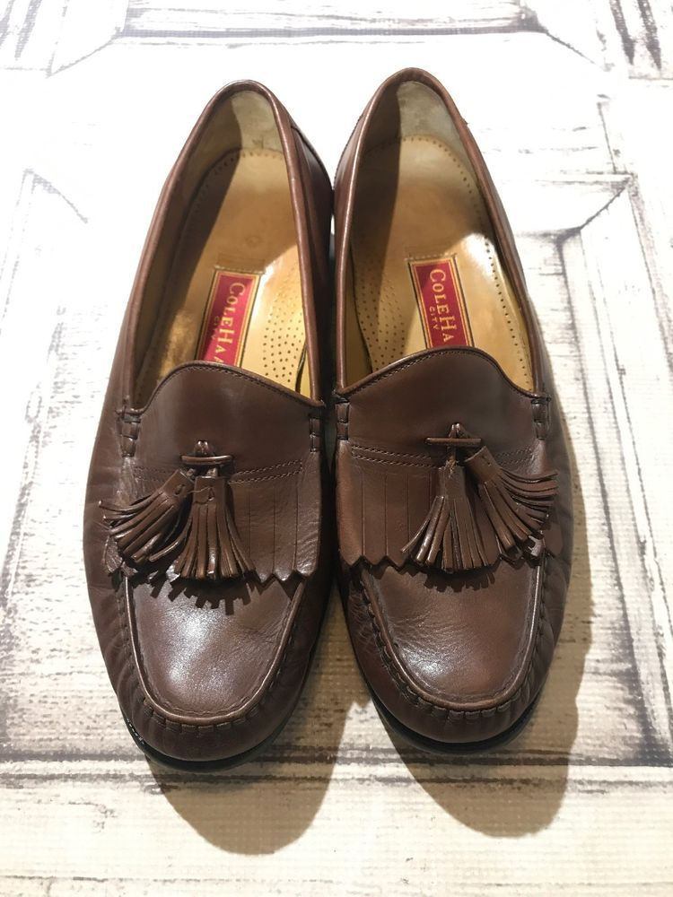862a0f11828 COLE HAAN Men s Loafers 11.5 M City Pinch Penny Brown Leather Tassel Fringe   fashion