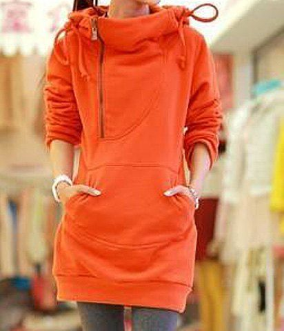 Stylish Hooded Long Sleeve Zippered Solid Color Women's Hoodie ...