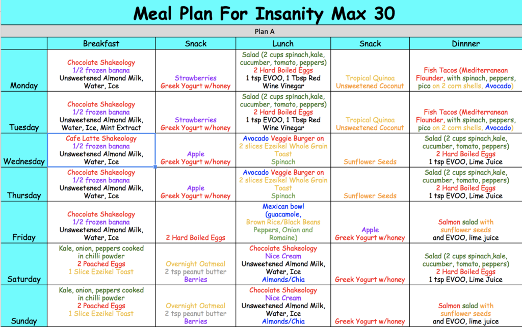 insanity max 30 meal plan portion control meal plans pinterest