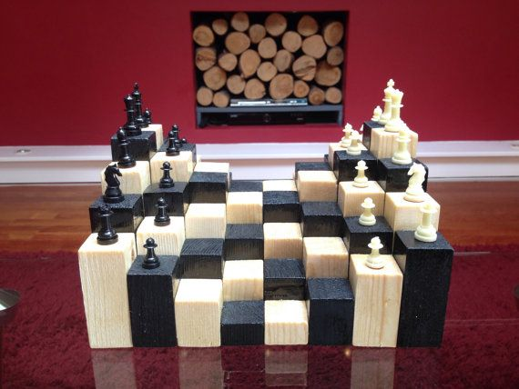 3d Wooden Chess Board By Hacketthandcrafts Chess Board Wooden