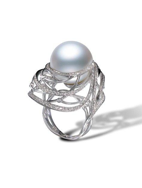 Cape Gooseberry Earrings - Regalia - Mikimoto pearl necklace