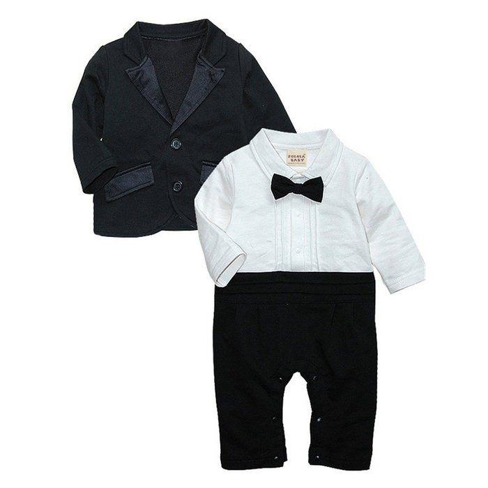 ZOEREA Baby Boys Romper Gentlemen Suits Jumpsuit Wedding Tuxedo ...