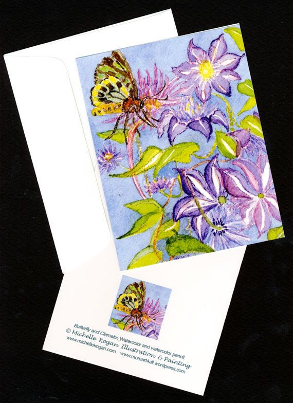 This is a watercolor card called Butterfly and Clematis, it's one of four notecards and they each come with an envelope. The additional cards in this set are called: Fall Wildflowers at Heller, Nene and Little Blue Heron.   Each of these cards are available as a group of four or as and individual card. View more of my cards in my Etsy Shop: MichelleKoganFineArt.etsy.com