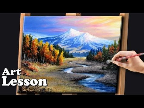 Painting A Beautiful Mountain Landscape With Acrylics Youtube Winter Landscape Painting Landscape Paintings Acrylic Landscape Painting Tutorial