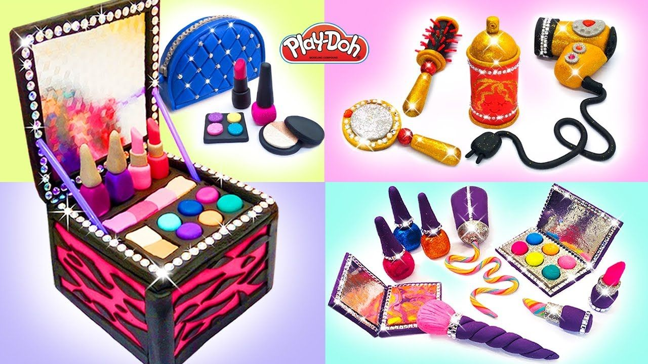 Play Doh Makeup Set How to Make Eyeshadow, Lipstick 💄 Nail