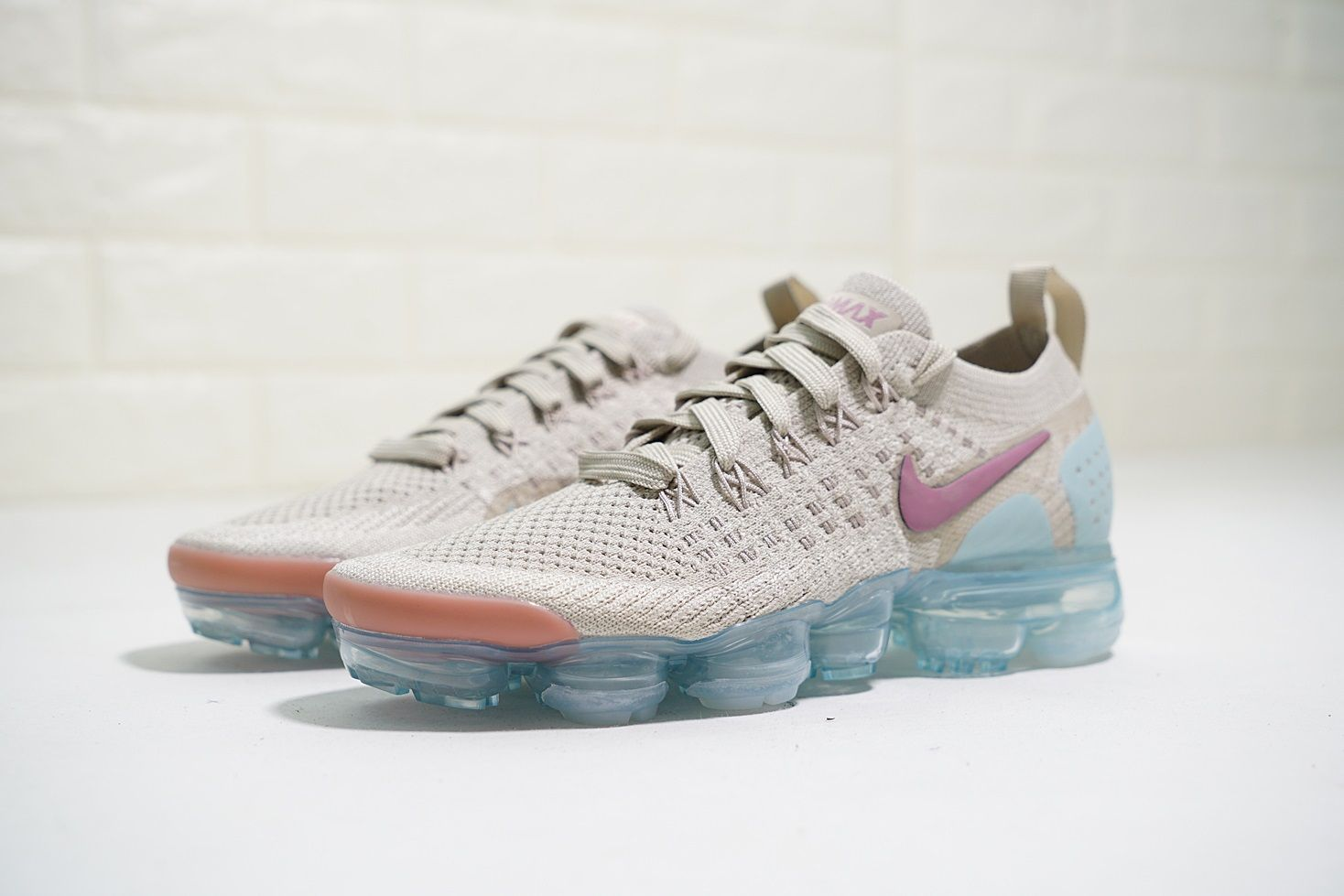 a822f2cc8fc72 NIKE AIR VAPORMAX FLYKNIT 2 KHAKI LIGHT BLUE PURPLE 942843 203 ...