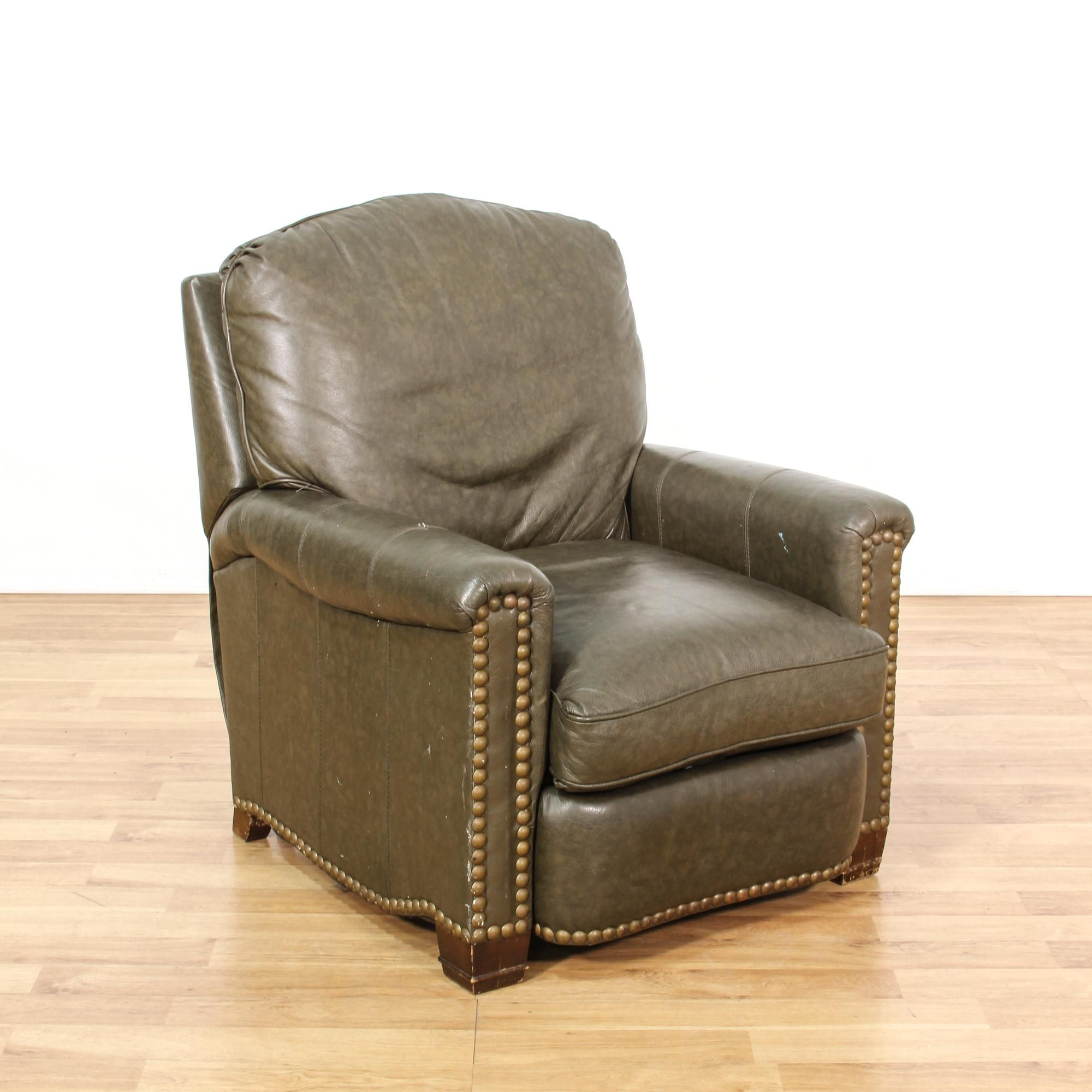 Dark Brown Leather Recliner Chair brown leather vinyl studded recliner chair | recliner, brown