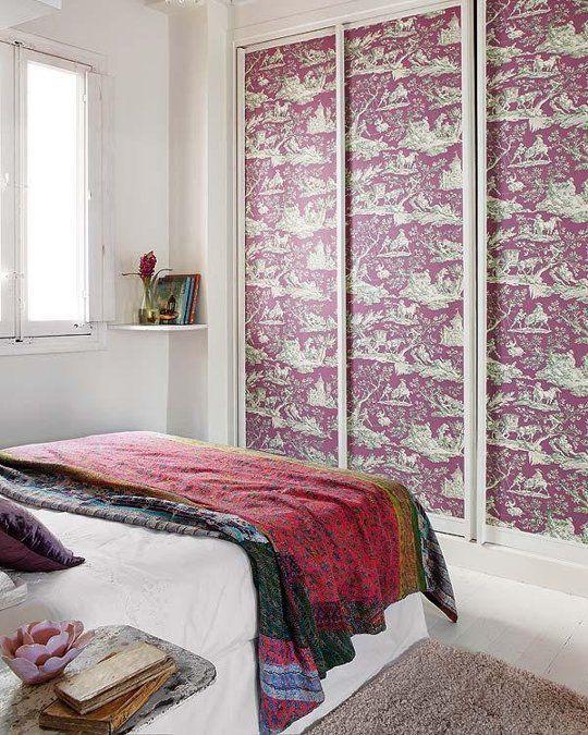 Rental Decor On A Budget Ideas For Using Removable Wallpaper In Small Quantities Diy Closet Doors Rental Decorating Closet Bedroom
