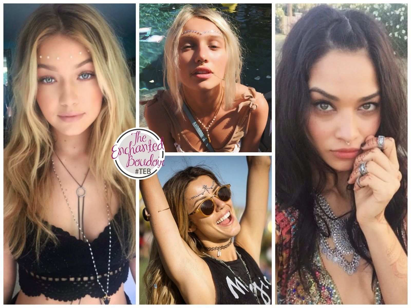 2015 COACHELLA FESTIVAL : As we expected, the trends were tiny cutoffs, crop tops, fringes, prints, dyed hair, etc... Models had fun with face jewelry.