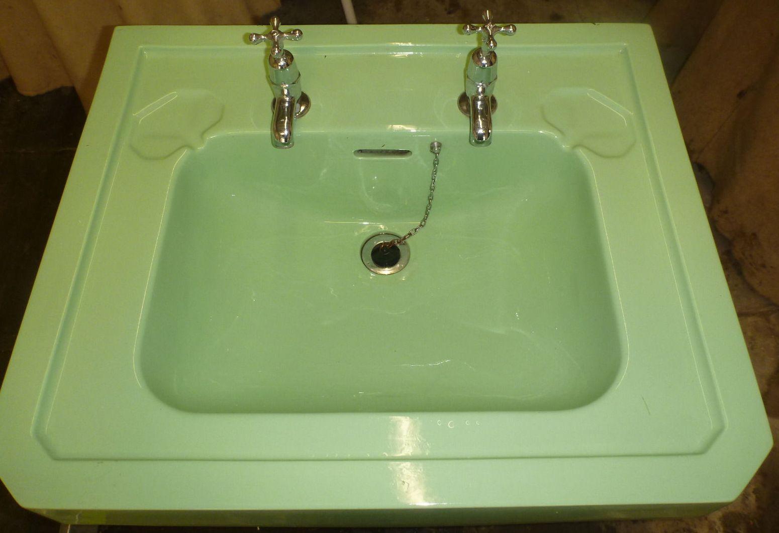 Vintage 40u0027s Large Green Pedestal Sink
