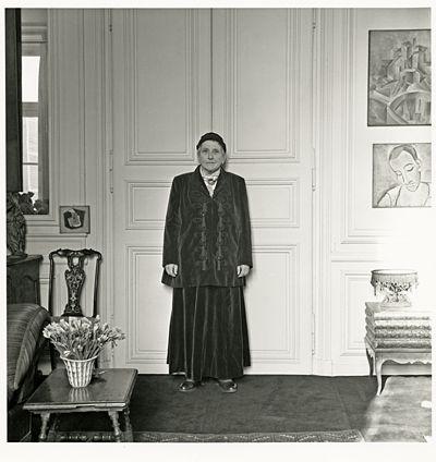 Horst P. Horst Gertrude Stein wearing Balmain suit, 1946