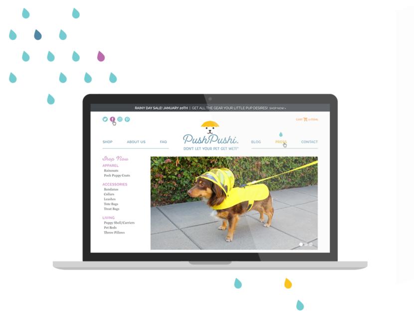 Custom Shopify website design for a dog accessories brand