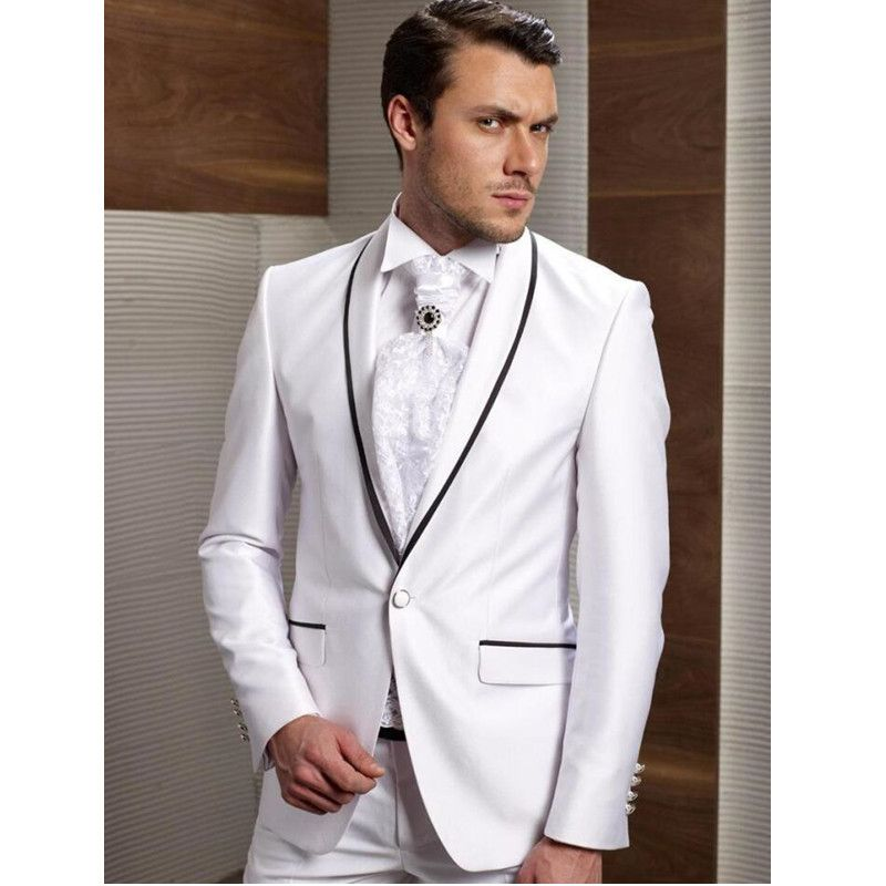 New Arrival Groom Tuxedos White Wedding Suits For Men Black Shawl Lapel Groomsman