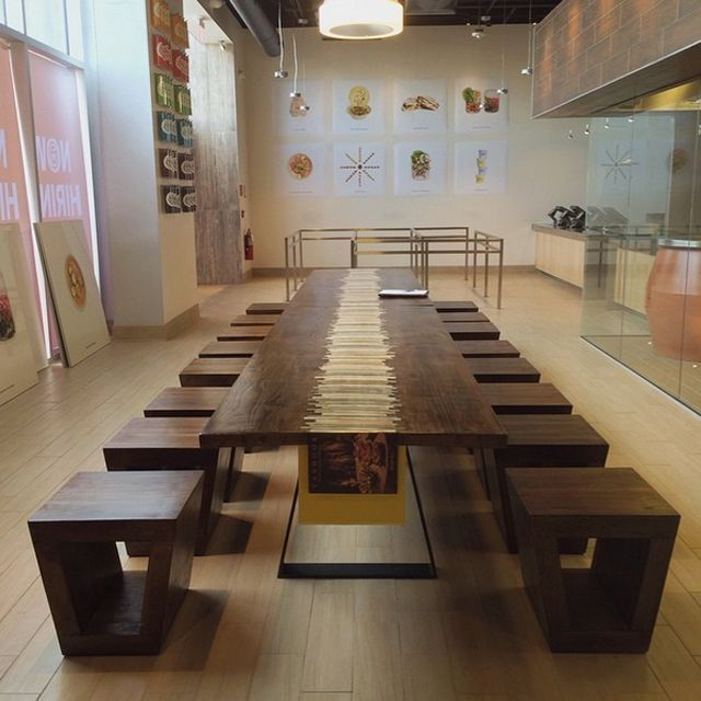 Perry And Co   Pittsburgh Custom Modern Furniture   Restaurant Seating    Communal Table And Stool