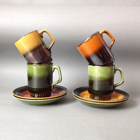 Vintage Fat Lava 4 sauce bowls with handle orange red black 70 /'s retro glazed earthenware ceramic sauce dishes