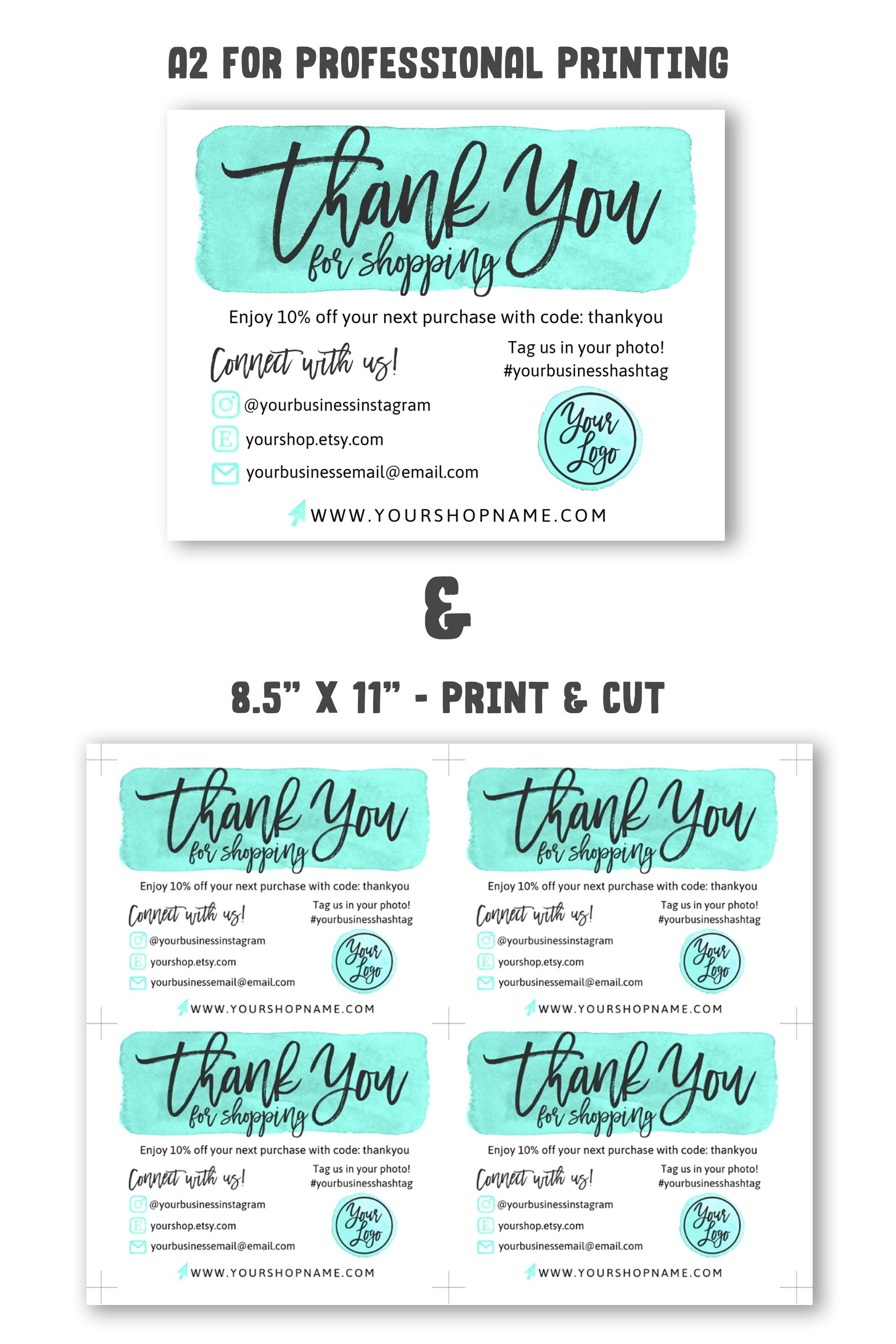 Diy Printable Thank You Card For Your Order Teal Gold Small Business Card Add Logo Social Media Icons Instagram Poshmark Etsy Business Thank You Cards Small Business