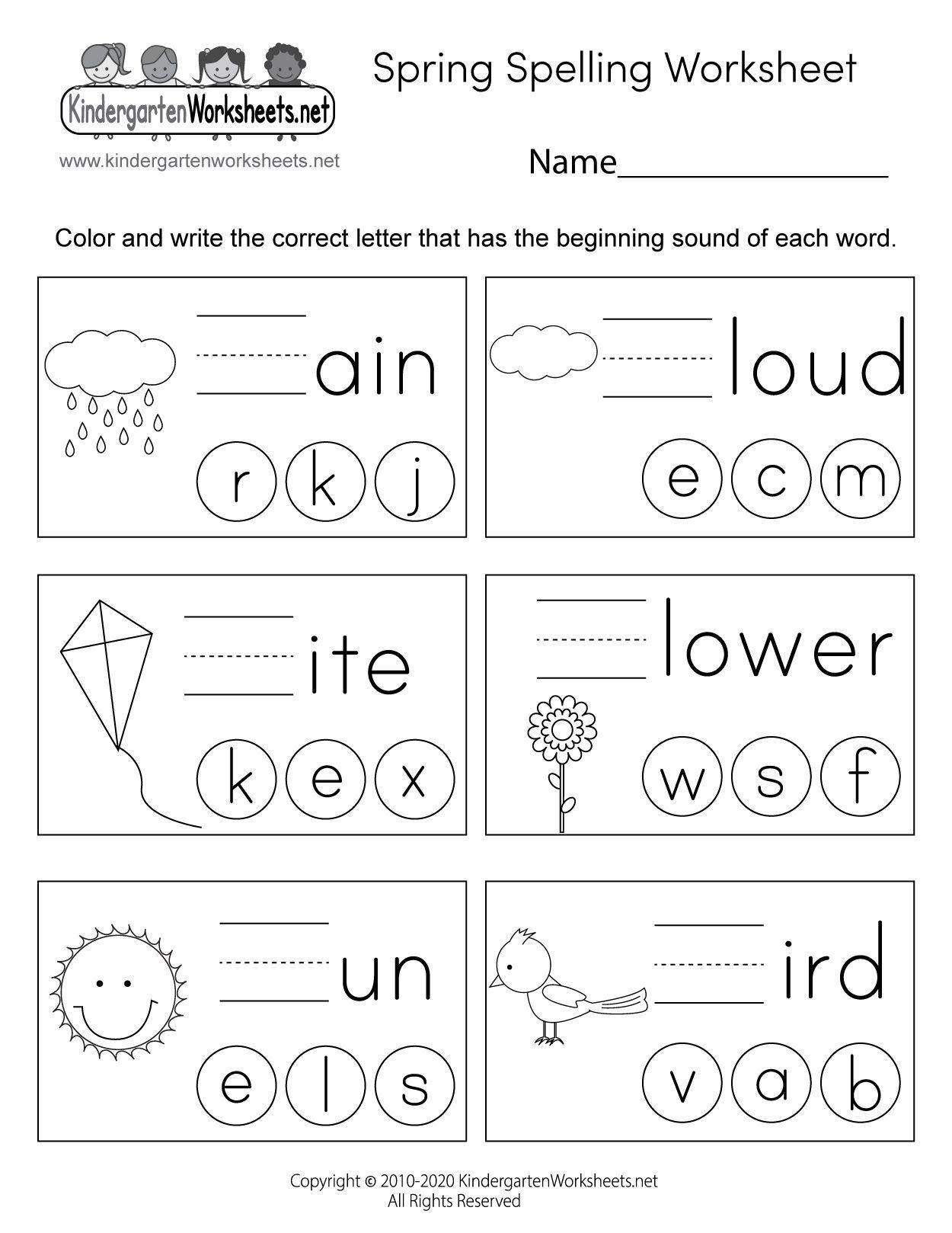 Kindergarten Spring Spelling Worksheet In 2021 Kindergarten Spring Math Worksheets Spring Math Worksheets Free Kindergarten Worksheets