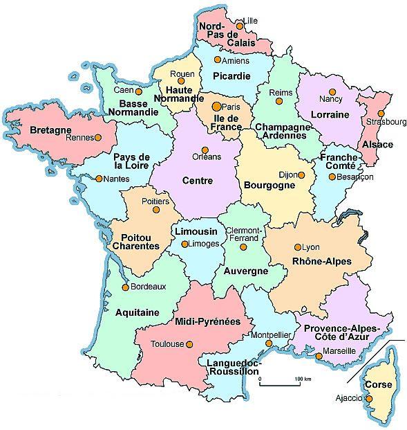 Harta Frantei Cu Regiuni Hartă Franța