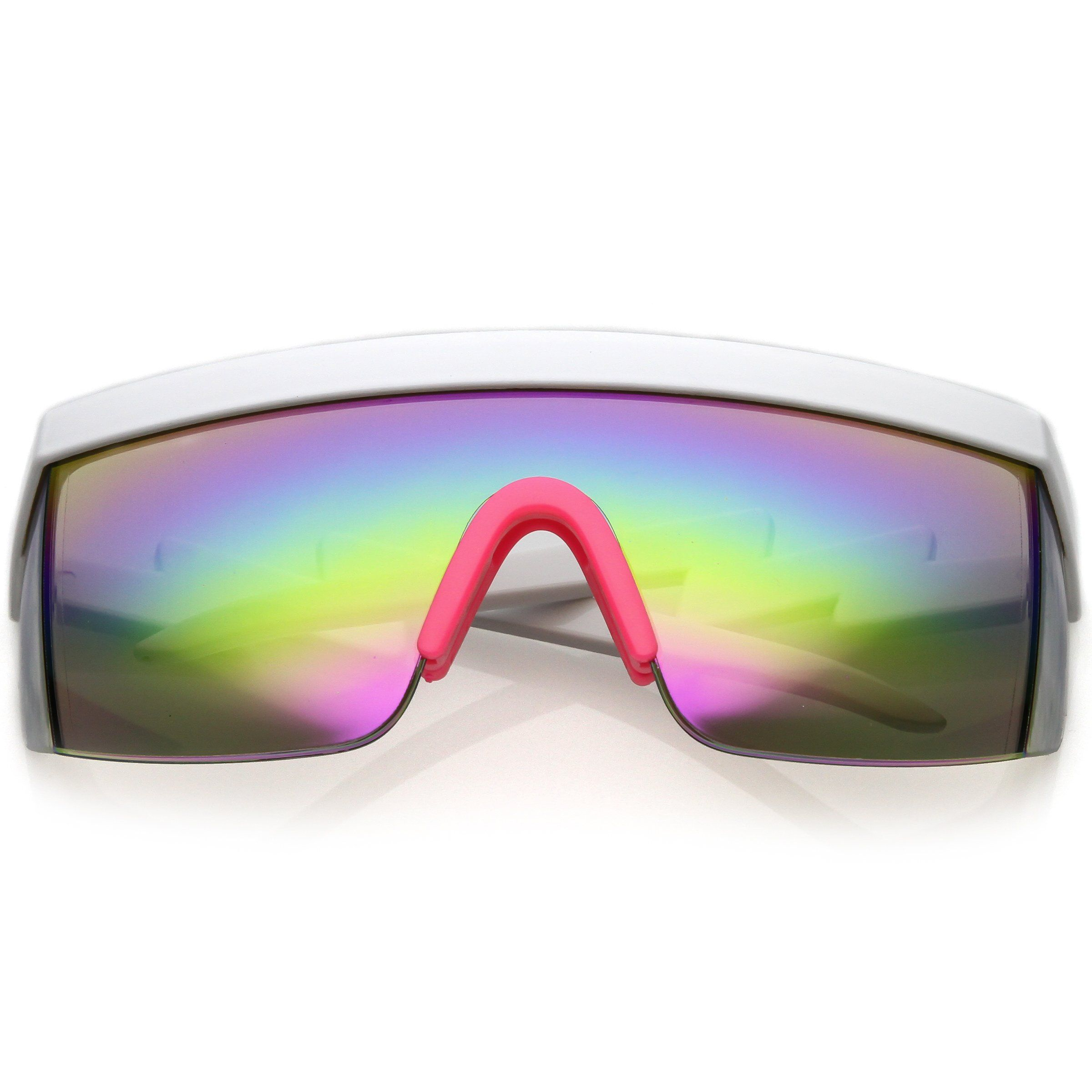 b1dd61eb01 Retro Flat Top Rainbow Mirrored Goggle Shield Sunglasses C545 ...