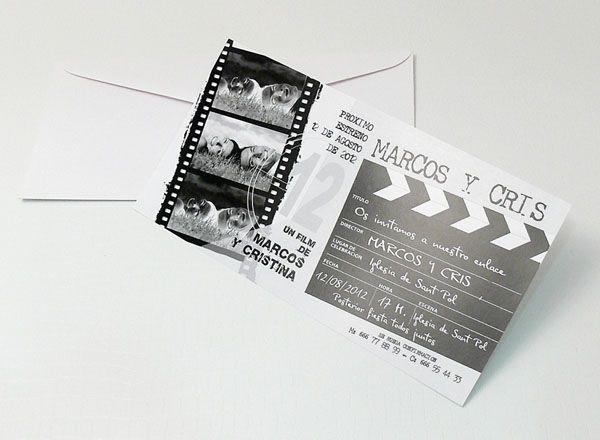 invitacin de boda original con temtica de cine
