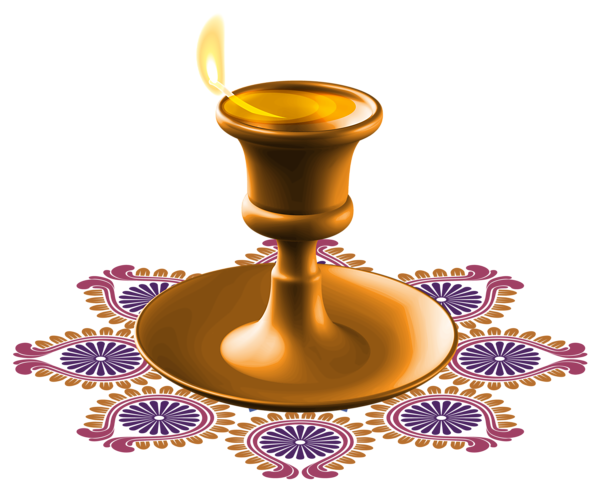 Happy Diwali Candle PNG Clipart Image