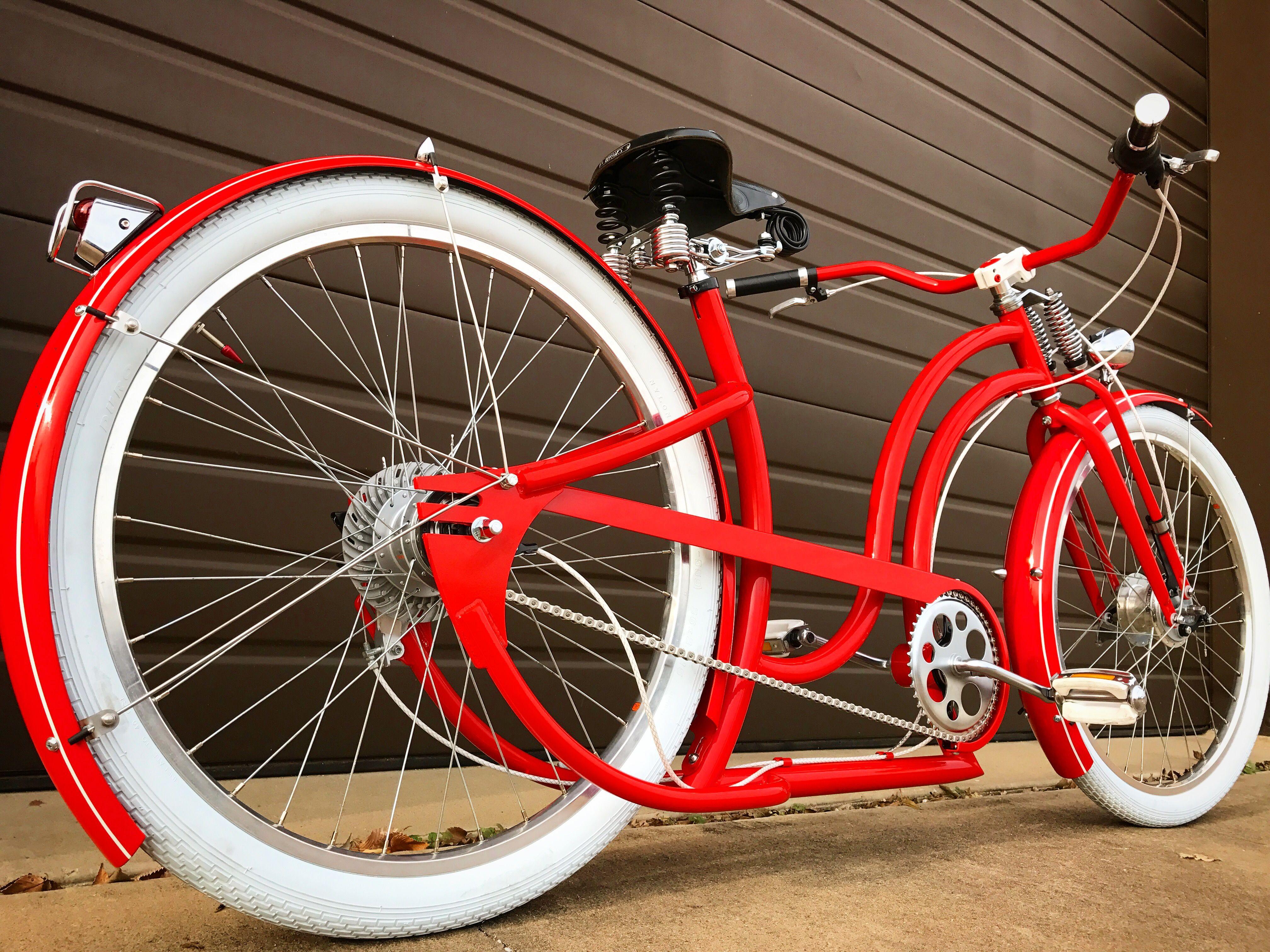 Cruiser Lowrider Bicycle Custom Red Grips Chopper Bike Cycling