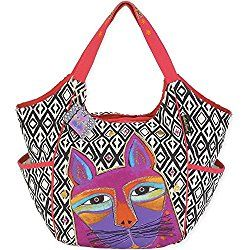 Laurel Burch Whiskered Cats Orange Black White Zig Zag Crossbody Handbag New