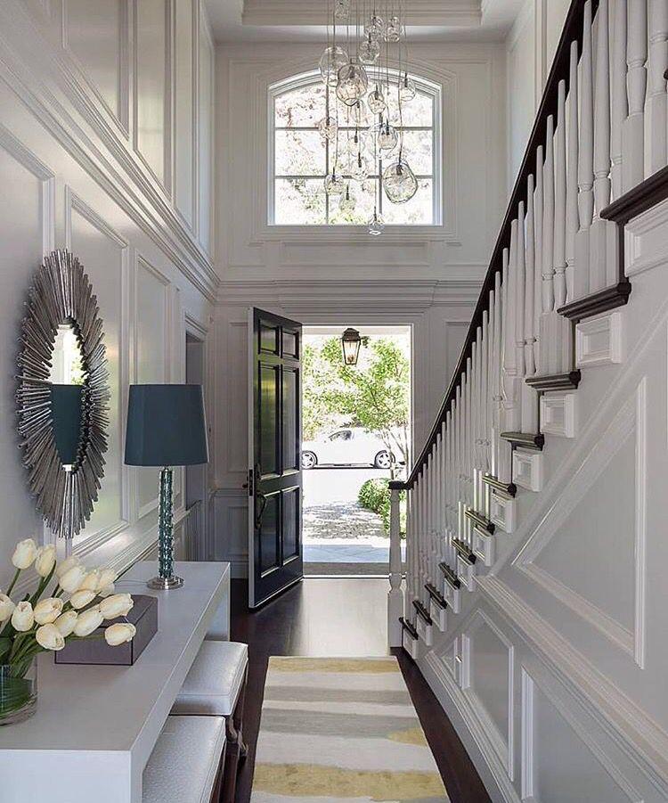 Elegant Foyer Stair Wraps A Paneled Two Story Entry Hall: Foyer Design, Hallway Designs, Narrow
