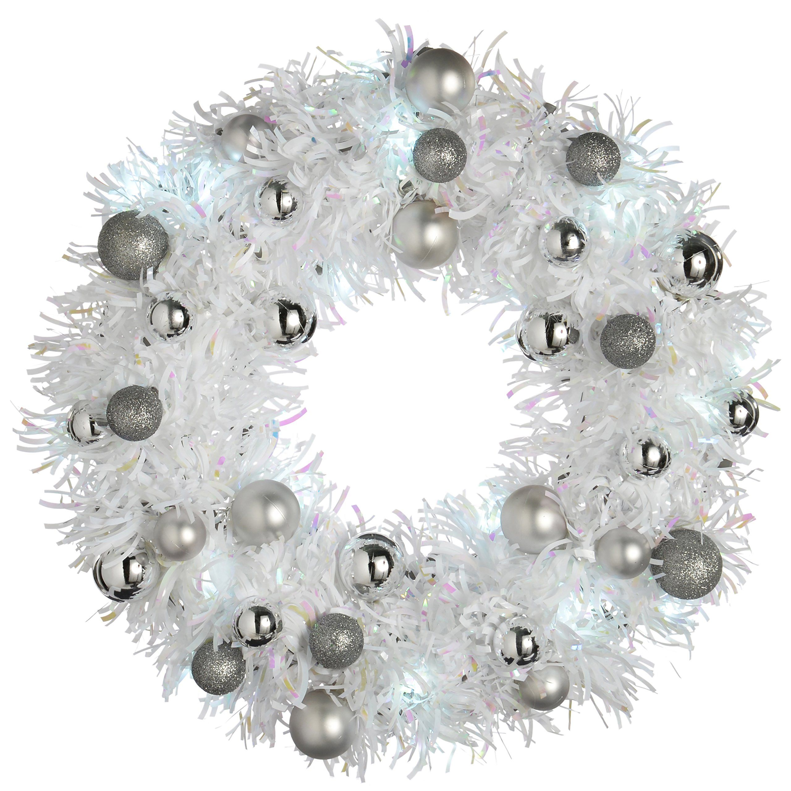 Werchristmas 36 Cm Pre Lit Tinsel Wreath With Baubles Led