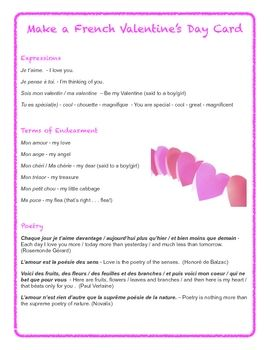 Make A French Valentine S Day Card Teaching French French Education French Lessons