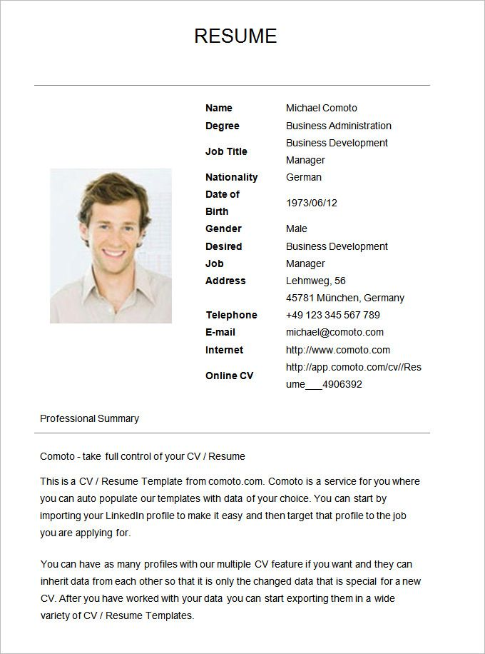 70 basic resume templates  pdf doc psd with images