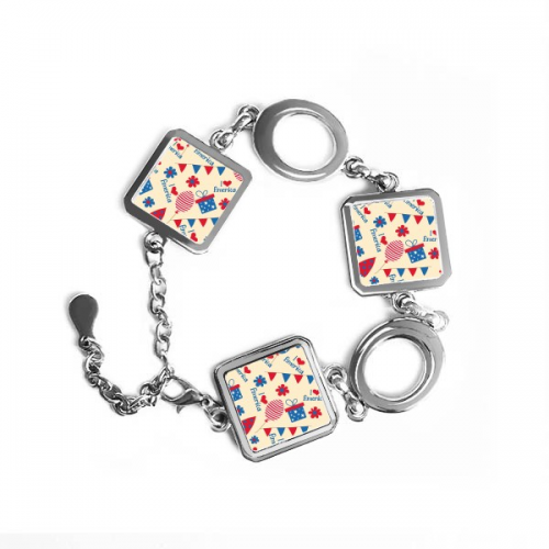 USA America Candy Gift Festival Flower Love Heart Illustration Pattern Square Shape Metal Bracelet Love Gifts #America #Candy #Gift #Festival #Love #Heart