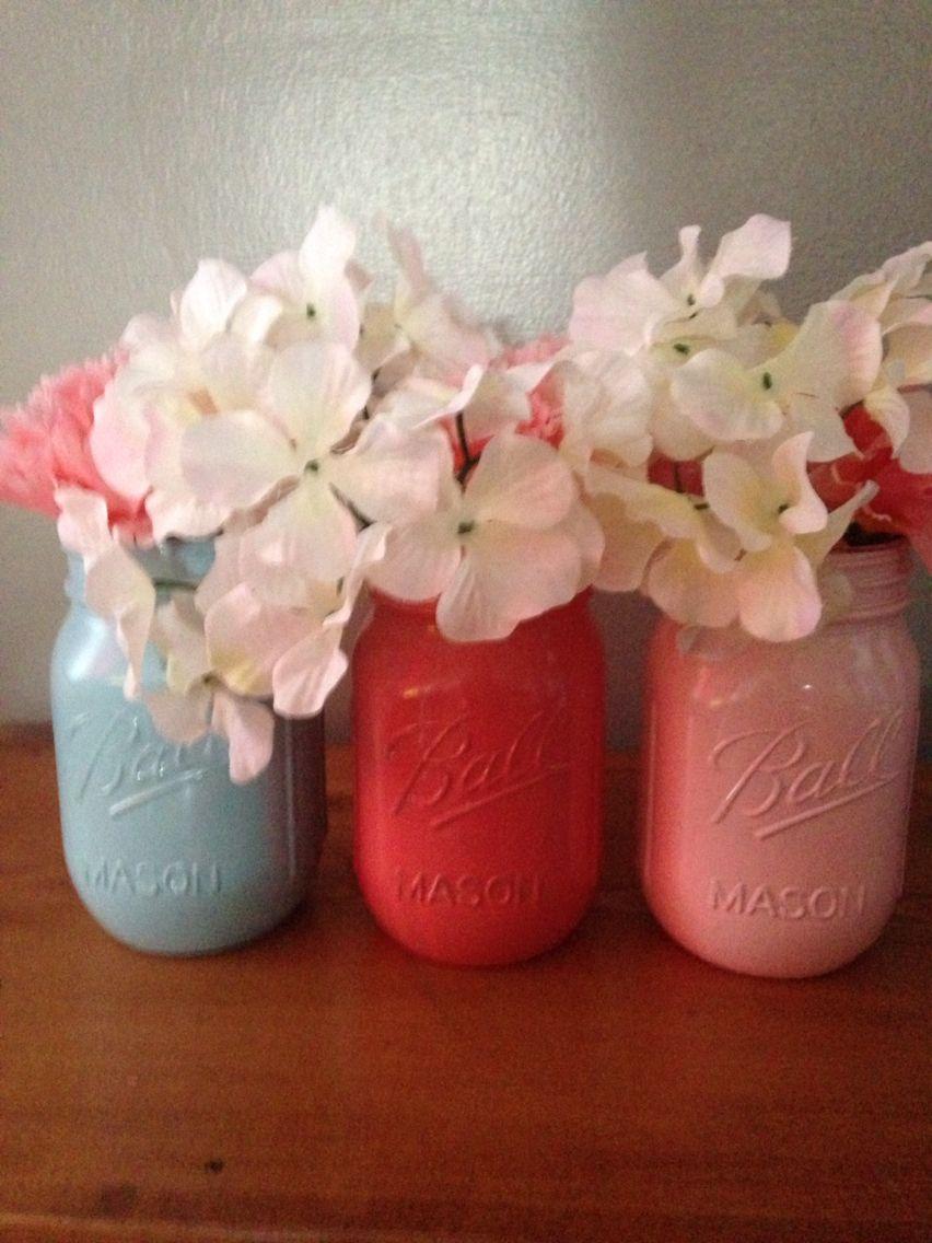 Primitive jars, blue, coral and pink