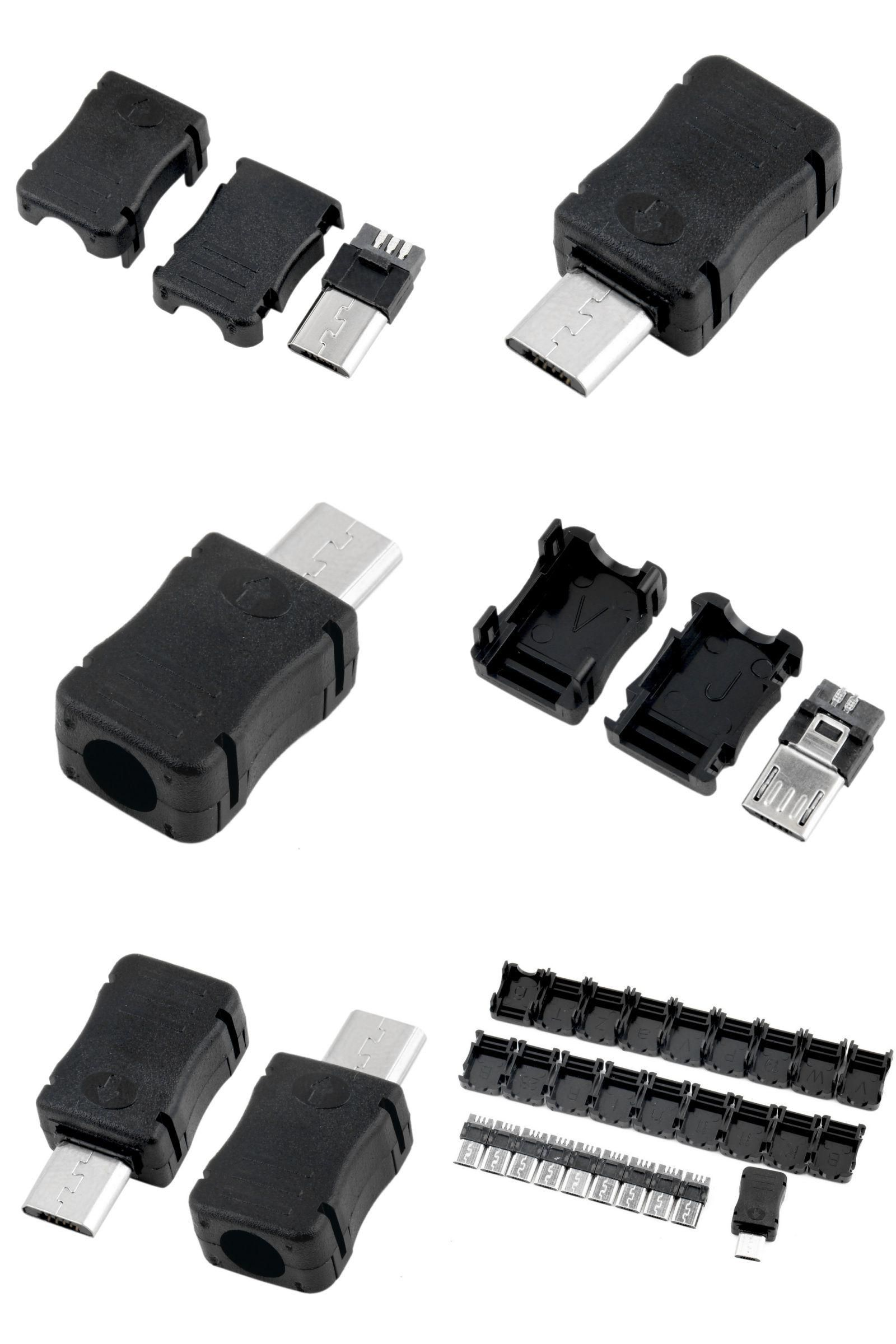 100 PCS DIY Micro USB 5 Pin T Port Male Plug Socket Connector