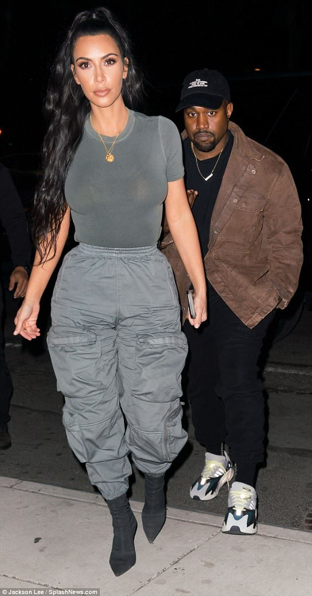 Kim Kardashian models semi-sheer top with Kanye We