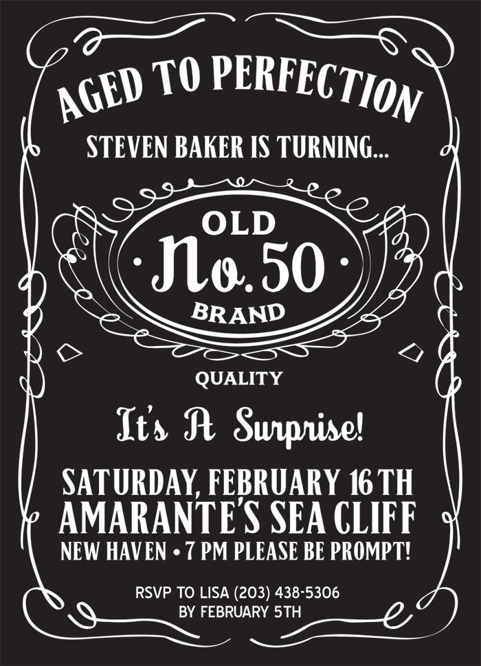 Check out this really cool JackDaniels inspired party – 50th Birthday Invite Template