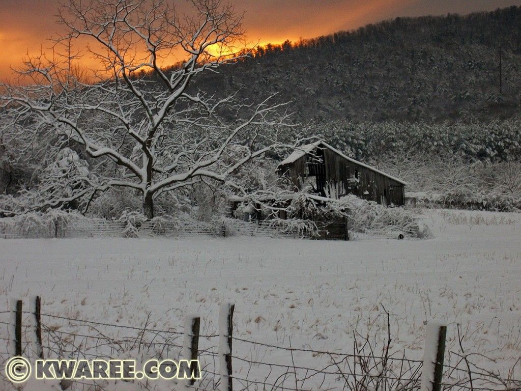 Old Snow Covered Barn In Shenandoah Valley Virginia