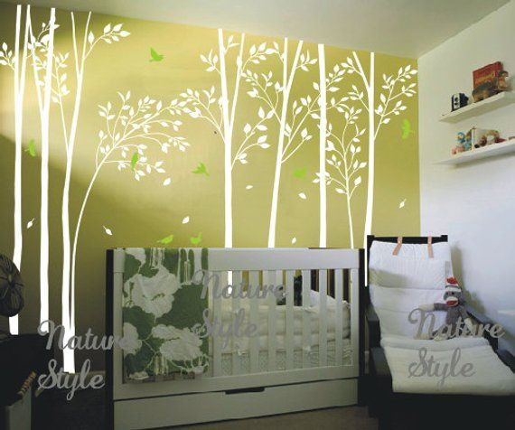 Forest Wall Decals Birch Tree Decal Birds Mural Nursery Sticker Kids Room