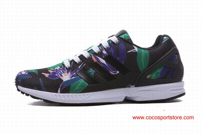 5cc658ef7 ... france adidas originals zx flux floral womens liftstyle shoes black  green purple b90f8 69fd4