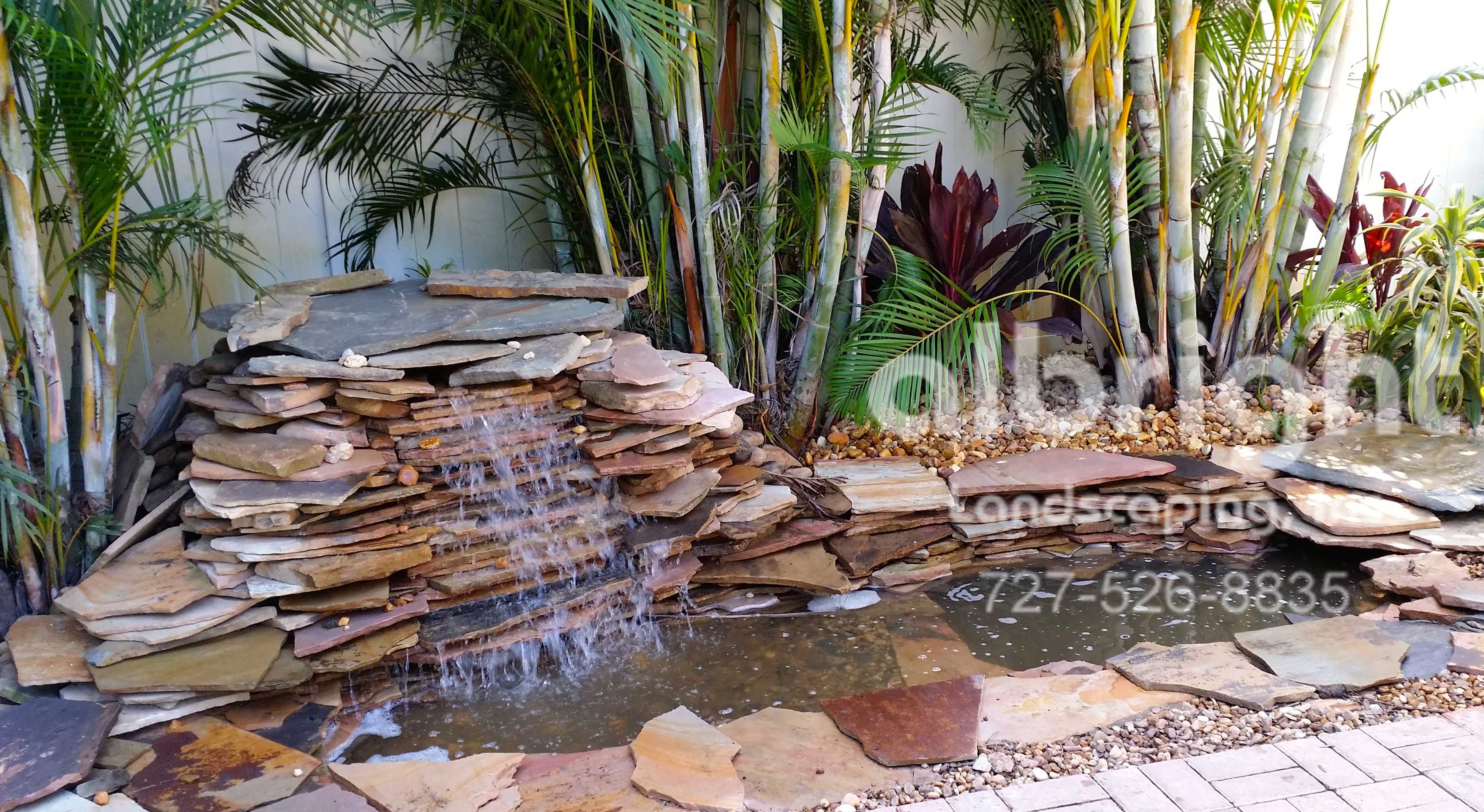 Patio water feature Flagstone waterfall