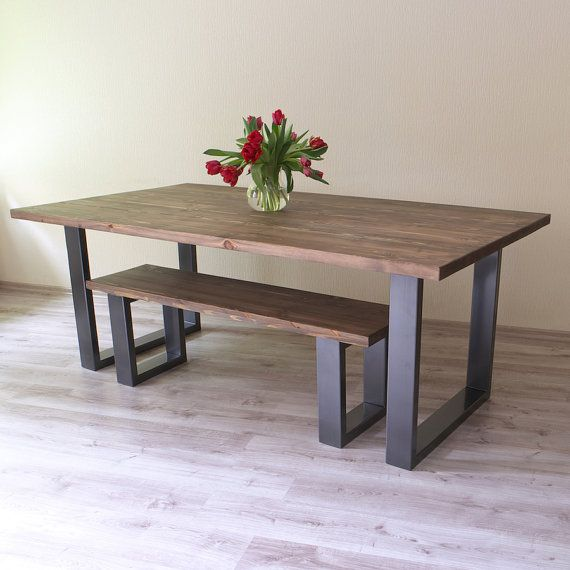 modern industrial style dining table wooden metal u shaped legs rustic retro esszimmer. Black Bedroom Furniture Sets. Home Design Ideas